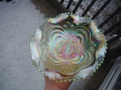 """Imperial Scroll Embossed Ice Green Vaseline Carnival Glass 8 1 4""""Bowl No Reserve   eBay"""