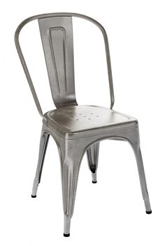Since the these French-made chairs – produced by the well-known company Tolix – have been adding style to dining spots from bistros to backyards. Each Tolix Café Chair is solidly built of rugged steel. Cafe Chairs, Table And Chairs, Dining Chairs, Study Chairs, Chaise Restaurant, Restaurant Design, Swinging Chair, Diy Chair, Industrial Style