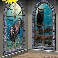 halloween scene setters decorations wall decor bat owl creepy windows add on