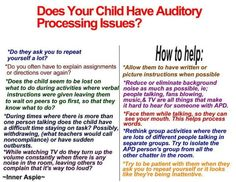 Auditory Processing Disorder Information - pinned by – Please Visit for all our ped therapy, school & special ed pins Auditory Processing Activities, Auditory Processing Disorder, Speech Language Pathology, Speech And Language, Pediatric Occupational Therapy, Learning Support, Sensory Issues, Sensory Integration, School Psychology