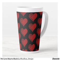 Pet Love Hearts Black Latte Mug Coffee Drinks, Coffee Mugs, Latte Mugs, Beer Mugs, Creature Comforts, Christmas Card Holders, Pet Shop, Love Heart, Keep It Cleaner