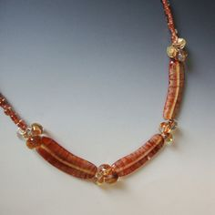 Copper Colored Boro Bead Necklace by CalliopeAZCreations on Etsy, $74.00