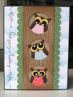 3 owls in a tree. So cute