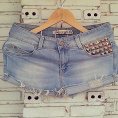 Vintage ZARA Denim Shorts with Studded / Studded by KodChaPhorn, $30.00