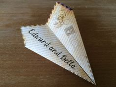 Custom Twilight Book Page Paper Airplane - Bella & Edward's Wedding! Customize Verbiage, Font and More! Perfect for Weddings, Showers, Etc!