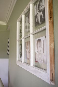 DIY - turning an old paned window, into a multi-picture frame.