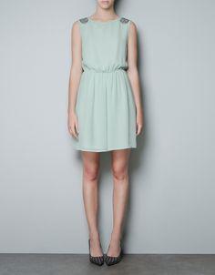 DRESS WITH APPLIQUÉ ON THE SHOULDER - Dresses - TRF - ZARA United States