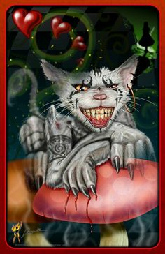 My take on the Cheshire cat from American McGee's Alice Painted in Photoshop This has been in the works for nearly 3 years. Cheshire Cat Art, Chesire Cat, Go Ask Alice, Creepy Cat, Alice Madness Returns, Were All Mad Here, Fairytale Art, Fairy Art, Zombie Apocalypse