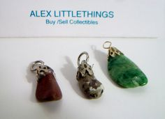 3 vintage genuine stone charms by ALEXLITTLETHINGS on Etsy
