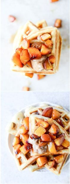 Vanilla Yeasted Waffles with Roasted Peach Syrup by @how sweet eats I howsweeteats.com