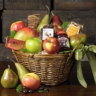 Nothing says natural quite like this Organic Gift Basket – the perfect eco-friendly choice for anyone who loves healthy eating. Picked at the peak of freshness, our luscious organic pears and crisp organic apples are paired with a delicious organic trail mix and sesame chunky cherry bar and other mouth-watering treats. What a great gift for family and friends alike!