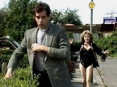 "The Vicar being chased by Rose, who considered him ""dishy"". Keeping up Appearances BBC British Tv Comedies, British Comedy, British Actors, Funny Sitcoms, Are You Being Served, Color Television, Bbc Tv Shows, Keeping Up Appearances, British Humor"