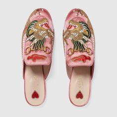 Gucci Princetown satin slipper with dragon