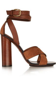 Gucci Leather and suede sandals | NET-A-PORTER