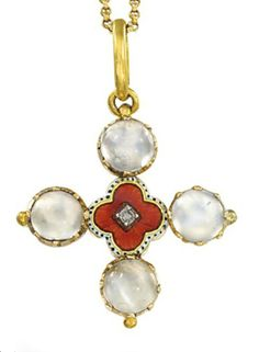 AN EARLY 20TH CENTURY MOONSTONE, DIAMOND AND ENAMEL PENDANT, BY CARLO & ARTHUR GIULIANO  The quatrefoil-shaped panel with red and white enamel decoration to the central old-cut diamond, cabochon moonstones to the cardinal points, on associated fine-link neckchain, mounted in gold, circa 1900, pendant 3.0cm long, neckchain 38.0cm long  With maker's initials 'C' for Carlo & Arthur Giuliano