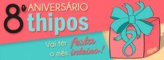 O mês de Fevereiro está cheio de promoções! O motivo: é aniversário da Thipos!!! Confira as promos especiais na nossa fanpage https://www.facebook.com/qualeseuthipos