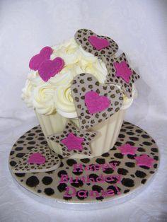 leopard print giant cupcake