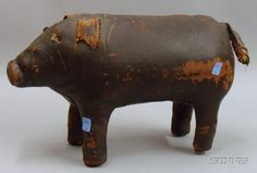 Leather Folk-Art Covered Pig Figure, lg. 19, ht. 11 in.