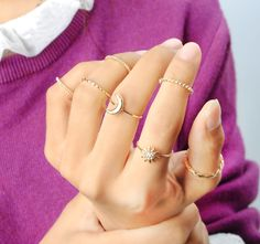 7 CÁI Cổ Điển Thổ Nhĩ Kỳ Bãi Biển Punk Trăng Sao Pha Lê Phần Vành bộ Dân Tộc Antique Mạ Vàng Boho Midi Finger Nhẫn Knuckle anelli