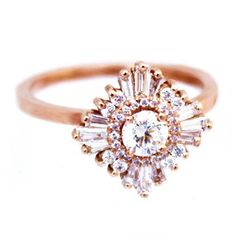 "I want!   ""Gatsby Petite"" Ring - Diamonds - White Sapphires, Diamond Halo, 14k gold"