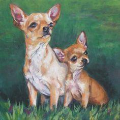 Chihuahua art print CANVAS print of LA Shepard painting 8x8 dog art. $19.99, via Etsy.
