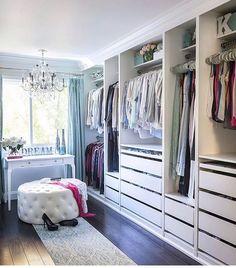 Ikea Closet Makeover Home 61 Ideas Walk In Closet Design, Bedroom Closet Design, Master Bedroom Closet, Closet Designs, Bedroom Inspo, Spare Room Walk In Closet, Bedroom Ideas, Dressing Room Closet, Dressing Room Design