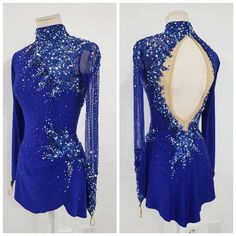 Blue with rhinestones ice dance dress, ice dance, ice dancer, synchro skate dress, synchronized skat Ice Dance Dresses, Ice Skating Dresses, Ballroom Dance Dresses, Figure Skating Outfits, Figure Skating Costumes, Girls Dance Costumes, Dance Outfits, Skater Outfits, Costume Dress