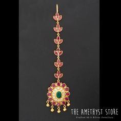silver with gold plated Tikka studded with semi precious stones. 925 Silver, Silver Jewelry, Sterling Silver, Mang Tikka, Ear Chain, Flower Shape, Headpieces, Chains, Amethyst