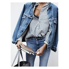Ladies In Levi's ❤ liked on Polyvore featuring oversized jacket, trucker jacket, blue jackets and boyfriend jacket