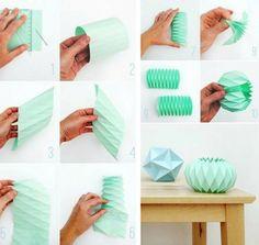 lampe origami en papier vert menthe - tuto en photos #OrigamiLamp
