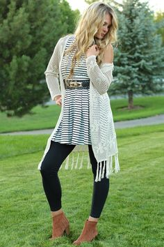 Pixie Dust Black & White Stripe Belted Dress