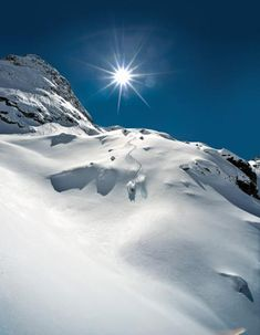 Untouched, perfect lines and not a cloud in the sky #picturesque #mountains photo: Lee Cohen.