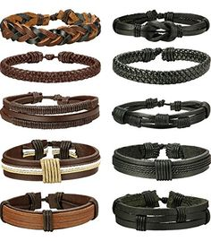 Pcs Braided Leather Bracelets for Men Women Woven Cuff Bracelet Adjustable -- Learn more by visiting the image link. (This is an affiliate link) Bracelet Wrap, Bracelet Cuir, Bracelet Sizes, Bracelets For Men, Fashion Bracelets, Leather Bracelets, Punk, Bracelet Designs, Stainless Steel Bracelet