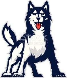Stylized powerful huskie mascot. All colors are separated in layers. Easy to edit. Black and white version included.