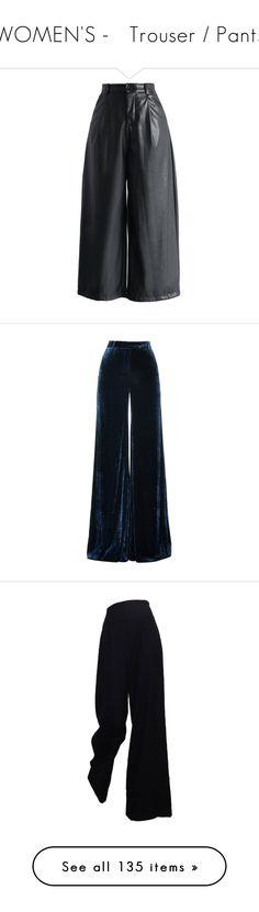 """WOMEN'S -   Trouser / Pants"" by kuropirate on Polyvore featuring pants, capris, black, pantalones, fake leather pants, black faux leather pants, black wide leg trousers, black crop pants, black trousers and trousers"