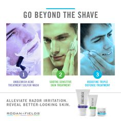 BEYOND THE SHAVE is the smart approach to men's skincare specifically to address a man's shaving needs. Curated by Dr. Katie Rodan and Dr. Kathy Fields, this three-step Regimen is clinically proven to alleviate razor irritation and reveal better-looking skin. Contact me and let me tell you how! It's totally worth it!