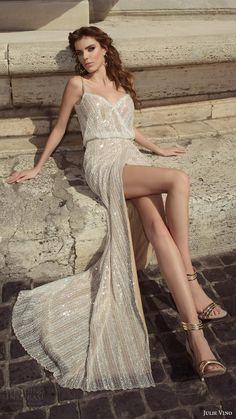 julie vino bridal spring 2017 sleeveless beaded straps vneck blouson wedding dress (junia) mv slit skirt