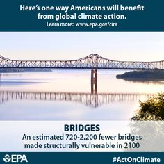 Like other transportation infrastructure, bridges play a key role in connecting our communities. Bridges are vulnerable to climate change due to increased precipitation and flooding. When we #ActOnClimate, we can prevent estimated 720 – 2,200 bridges from becoming structurally vulnerable each year by 2100.  http://www2.epa.gov/cira/climate-action-benefits-bridges