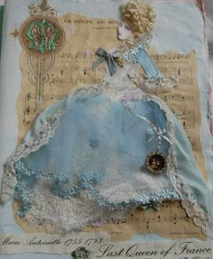 A piece of work created for a project all about Marie Antoinette, I used my daughter as the model and built up the picture using vintage french papers and lace, silk ribbon and wool.