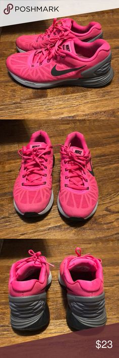 Nike lunarglide 6 Neon pink. Dark and light gray bottoms. Used condition. They have a ton of life left. Nike Shoes Athletic Shoes