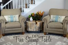 Hometalk:: DIY Tree Stump Table! An Ellen Show Knock Off! ~ Oh. My. Gosh. Love it!! The hunt for a good stump is now on!!! :)   ~
