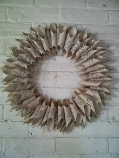 Brick Home Love: Book Pages Wreath