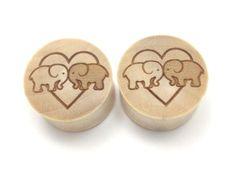 "100% Handmade ""Elephants In Love"" Organic Wood Plugs 7/16"" - 30mm - NEW in Jewelry & Watches, Fashion Jewelry, Body Jewelry | eBay"