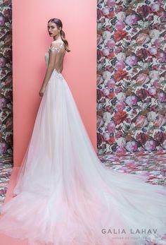 galia lahav spring 2019 bridal off the shoulder deep plugning sweetheart neckline full embellishment slit skirt romantic a line wedding dress keyhole back sweep train (marleigh) bv