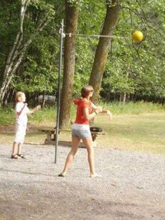 Teatherball at grade school When I was the girl champ!  and could beat most boys..... bc