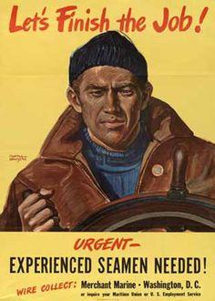 "WWII U.S. Merchant Marine recruitment poster, ""Let's Finish the Job!"""