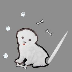 Cute White Puppy Rear Wiper Decal - Brand New! Only available here!