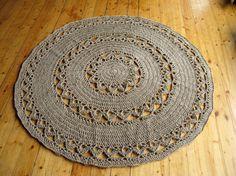 Iuta rotondo Centrino all'uncinetto tappeto di HandmadeByzVyara
