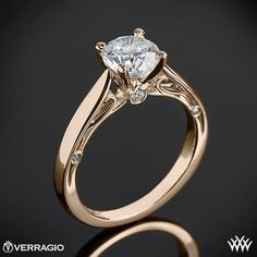18k Rose Gold Verragio Cathedral Solitaire Engagement Ring