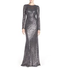 Badgley Mischka Cowl Back Sequin Gown (2.450 BRL) ❤ liked on Polyvore featuring dresses, gowns, charcoal, long sleeve dress, party dresses, going out dresses, party gowns and long sleeve evening dresses